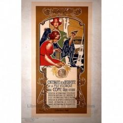 """Afiche italiano para el """"Centenario del descubrimiento de la pila voltaica"""" (celda galvánica, celda voltaica)"""