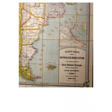 Nuevo mapa de la República Argentina y sus países limítrofes. Chile, Uruguay y Paraguay